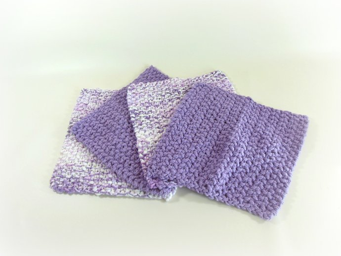 Double Knit Set of 4 Washcloths in Shades of Purple
