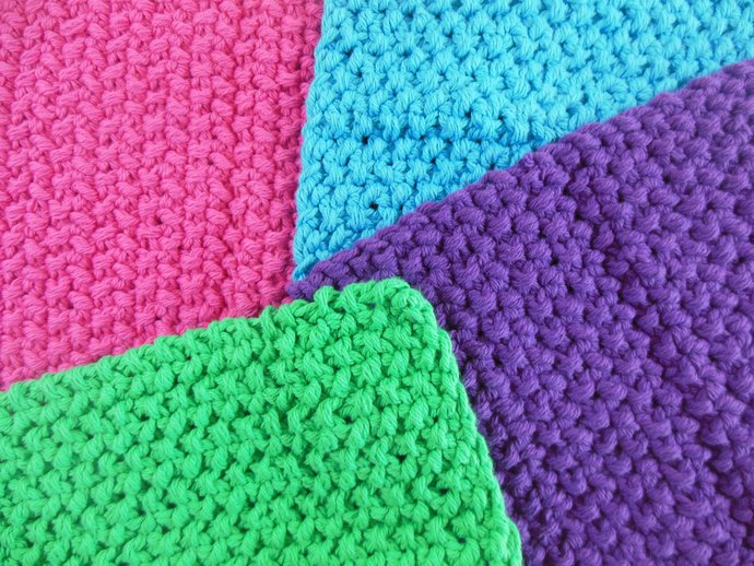 Double Knit Washcloths Set of 4 in Bright Pink, Purple, Blue, & Green