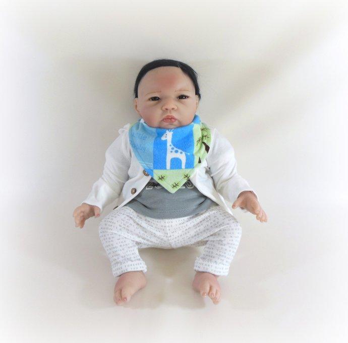 Reversible Infant Bandanna Bib, Bandanna Scarf, Drool Bib in Giraffe and