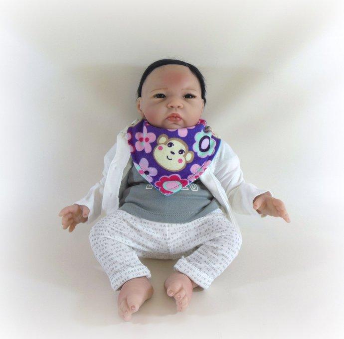 Reversible Infant Bandanna Bib, Bandanna Scarf, Drool Bib in Monkeys and Paisley