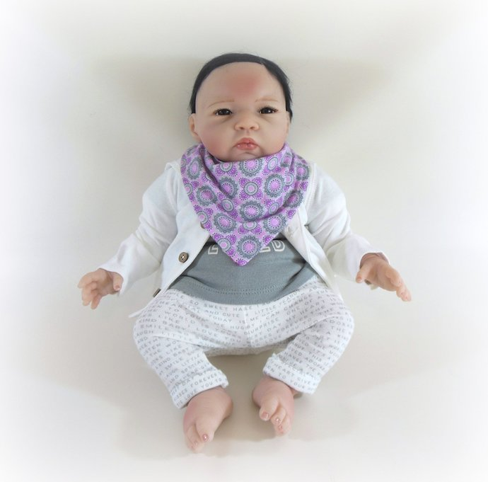 Reversible Infant Bandanna Bib, Bandanna Scarf, Drool Bib in Owls and Flower