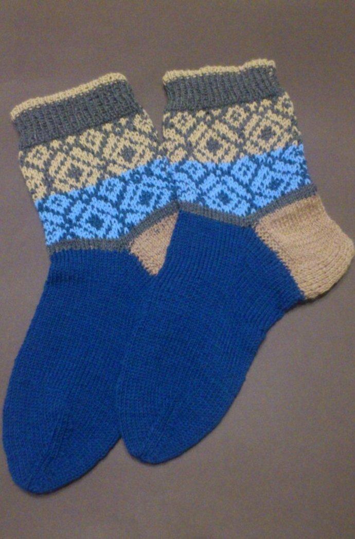 King Size men's wool socks, Big size men knitting socks, blue handmade socks,