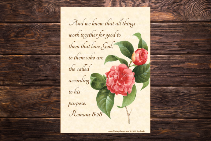 ALL THINGS GOOD Romans 8:28 Vintage Verses DIY Inspirational Wall Art Printable