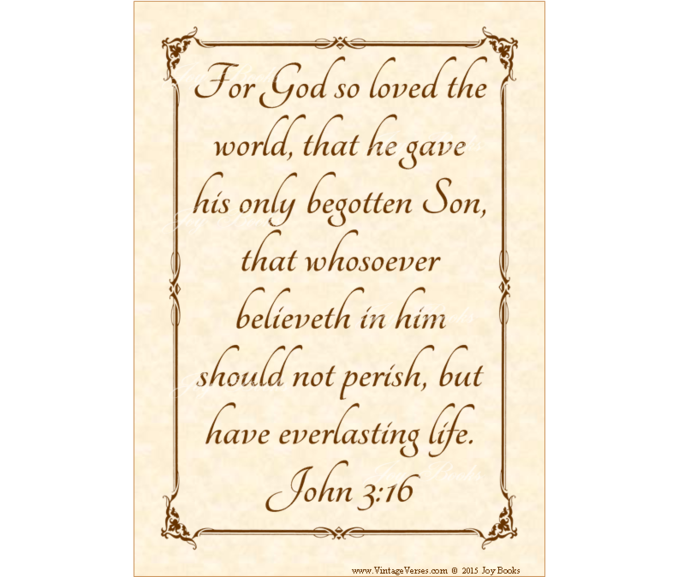 JOHN 3:16 God's Greatest Gift  Vintage Verses DIY Inspirational Wall Art