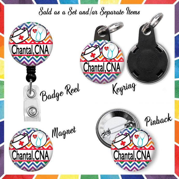 Personalized CNA Retractable Badge Reel with Matching Keyring Magnet & Pinback