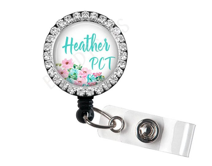 PCT Badge Reel - Floral Rhinestone Badge Reel Personalized for Patient Care Tech
