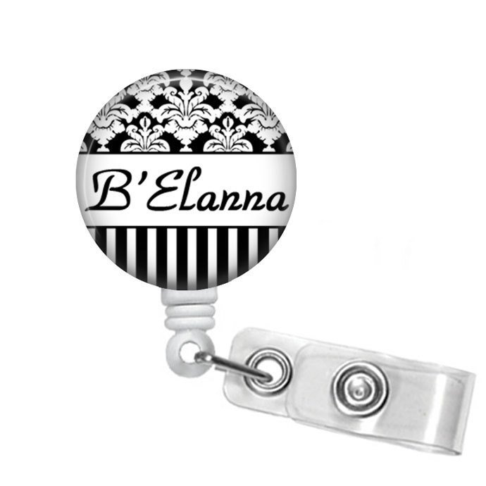 Personalized  Black & White Damask and Stripes Name Badge Reel, Badge Reels,