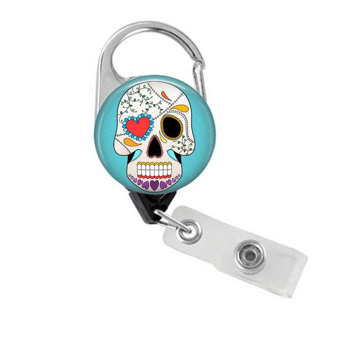 Sugar Skull Badge Reel Retractable Badge Holder, Dia de los Muertos Day of the