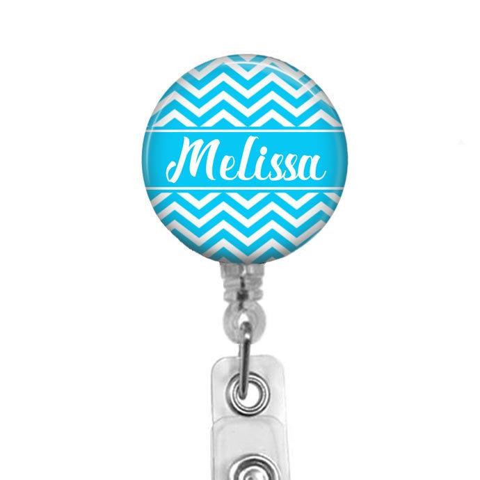 Badge Reel, Personalized Badge Holder Light Blue Chevron Retractable Badge Reel