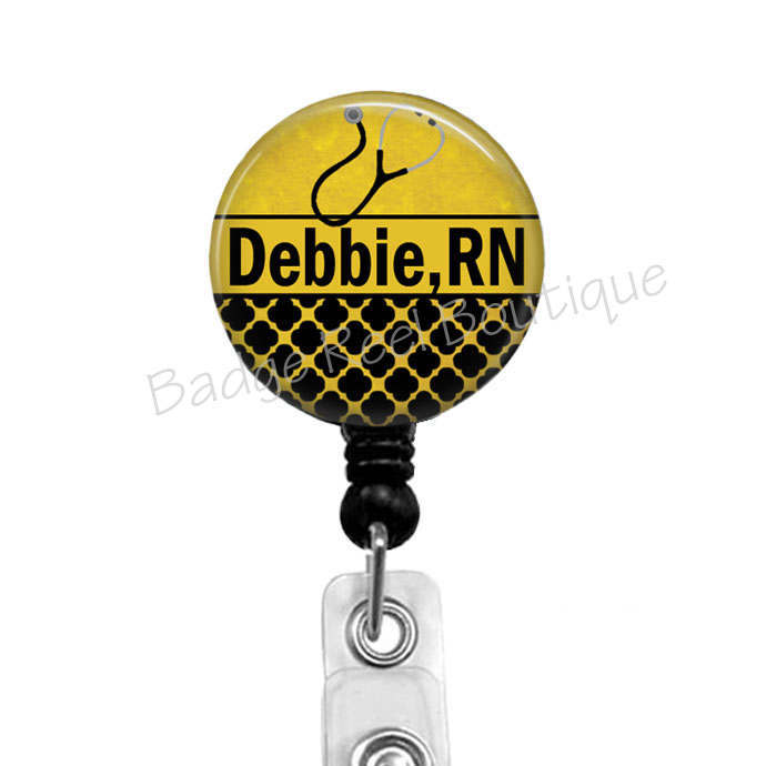 Badge Reel for RN, Personalized Name Badge, Retractable Badge Holder, Nurse