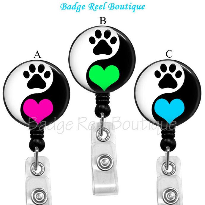 Dog Paw Badge Reel, Animal Rescue Badge Reel Holder, Yin Yang Cat Dog Paw Print