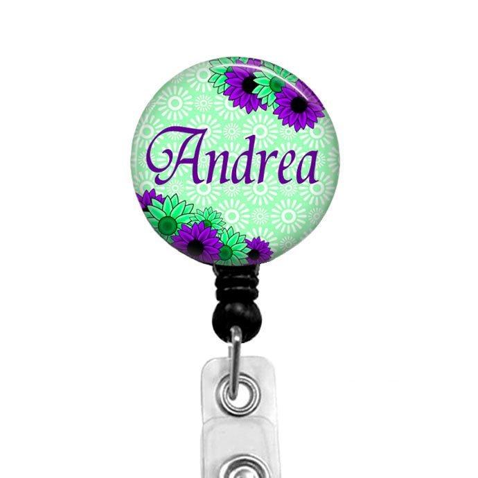 Floral badge reel retractable badge holder nurse badge reel badge reels name
