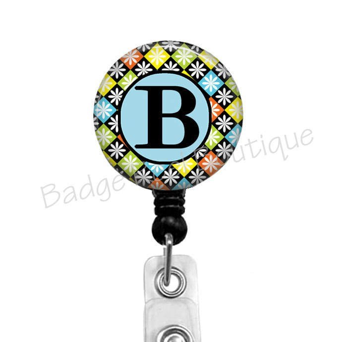 Personalized Letter Badge Reel, Retractable Badge Holder with Initial, Name