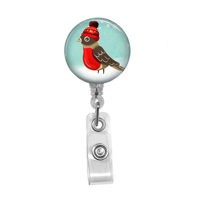 Christmas Badge Reel, Cute Bird Retractable Badge Holder for Nurse Teacher