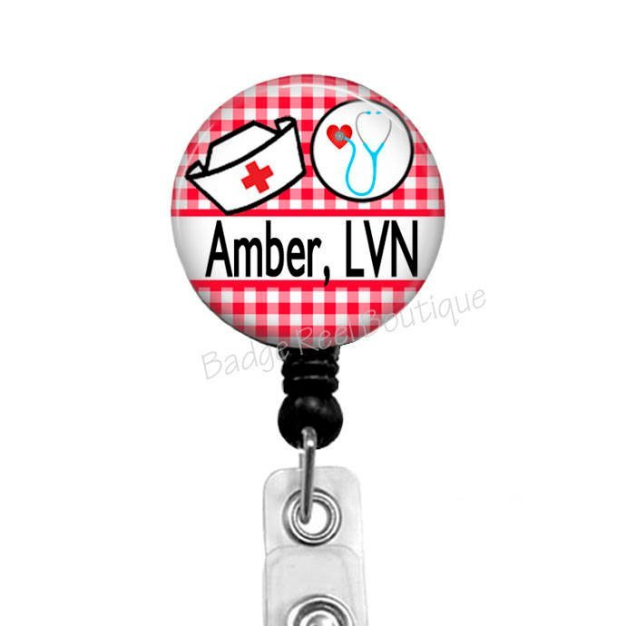 LVN Badge Reel, Retractable ID Badge Reel for Nurses - Rn - Cna, Red and White