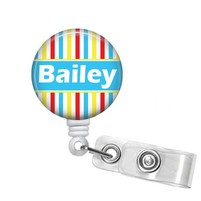 Personalized Badge Reel Red Yellow Blue White Retractable Badge Holder RN Badges