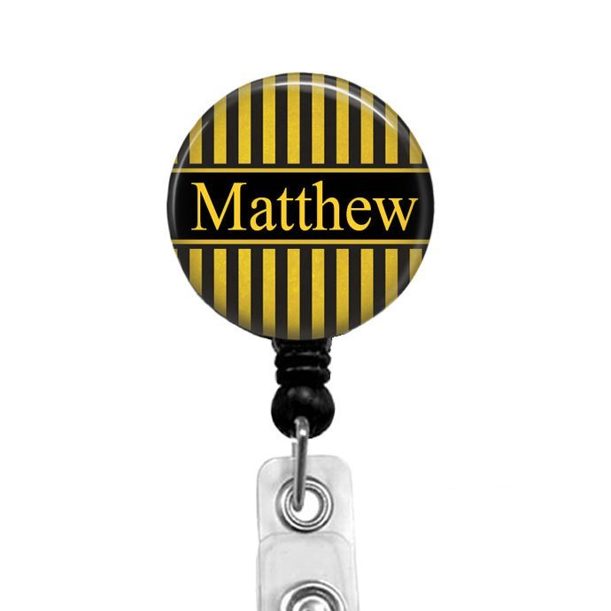 Personalized Badge Reel for Men, Black & Gold Name Badge Holder, Badge Reels,