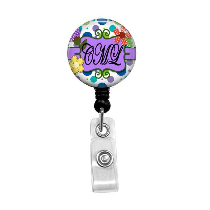 Monogrammed Badge Reel, Personalized Badge Reel, Retractable ID Badge Holder,