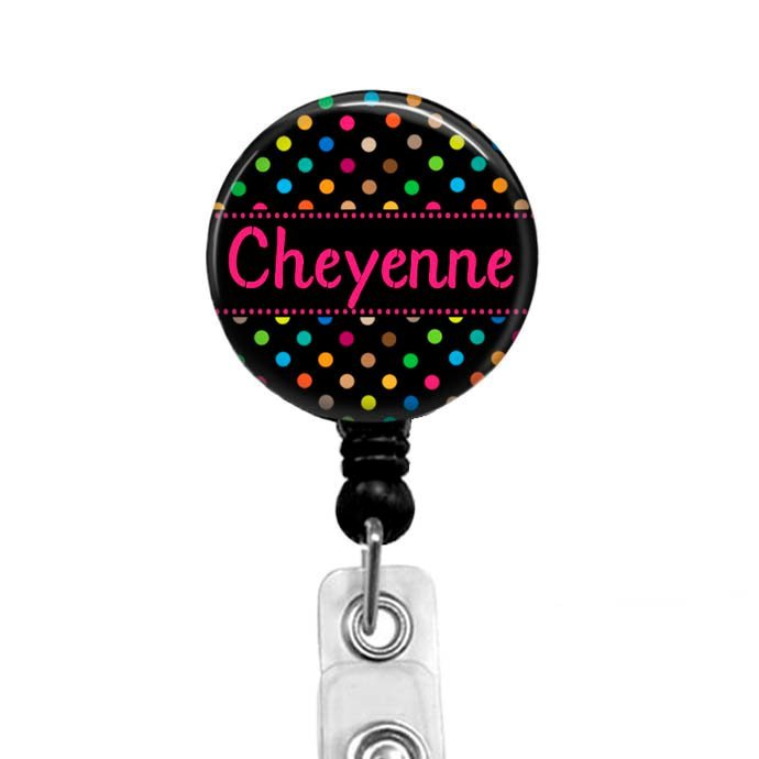 Personalized Badge Reel, Hot Pink Colorful Polka Dots Retractable Badge Holder,