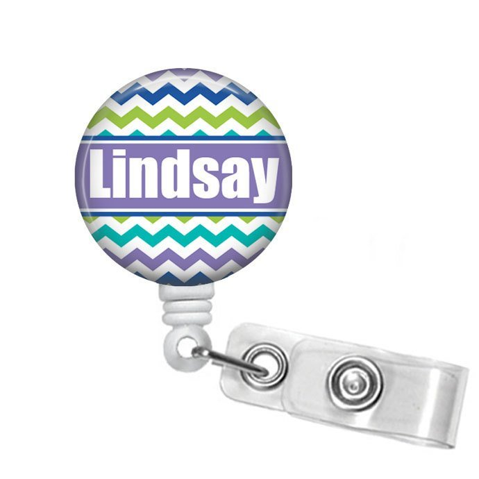 Green Blue Purple Chevron Badge Reel, Personalized Name Badge Holder for Student