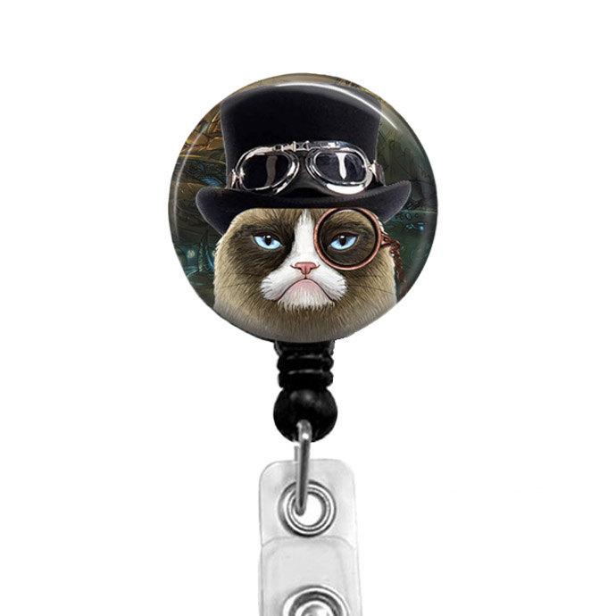 Grumpy Cat Badge Reel - Retractable Nurse Badge Holder for CNA Lpn - Steampunk