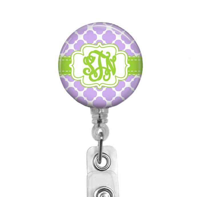 Green and Purple Monogram Badge Reel with Quatrefoil Design Personalized