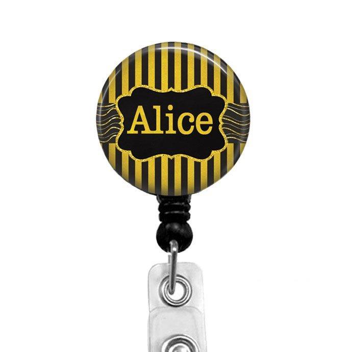 Personalized Badge Reels, RN Name Badge Holder, Black & Gold Stripes Retractable