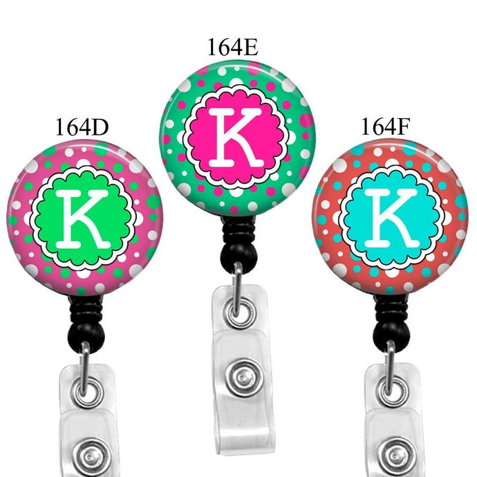 Initial Badge Reel, Letter Retractable Name Badge Holder With Polka Dots For