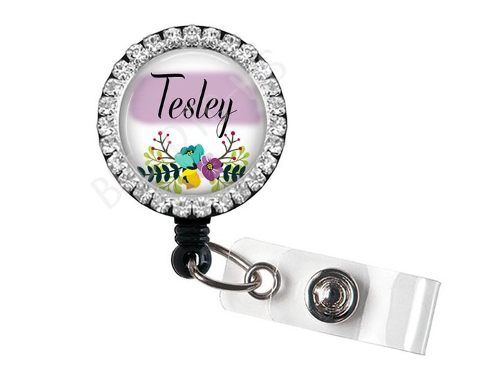 Floral Badge Reel - Rhinestone Badge Reel - Bling Badge Holder - Purple With