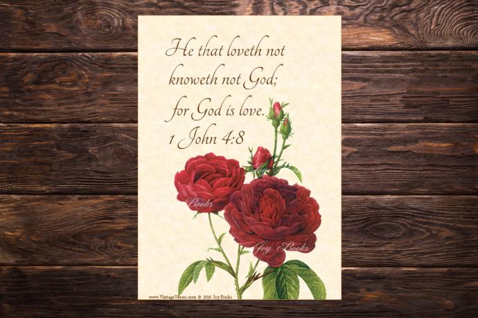 GOD IS LOVE - 1 John 4:8 Vintage Verses DIY Inspirational Wall Art Printable