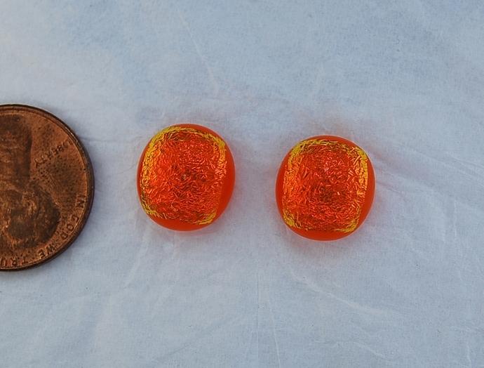 Metallic Red-Orange Dichroic Glass Glass Pair  11.5mm Cabochons, Bright Handmade
