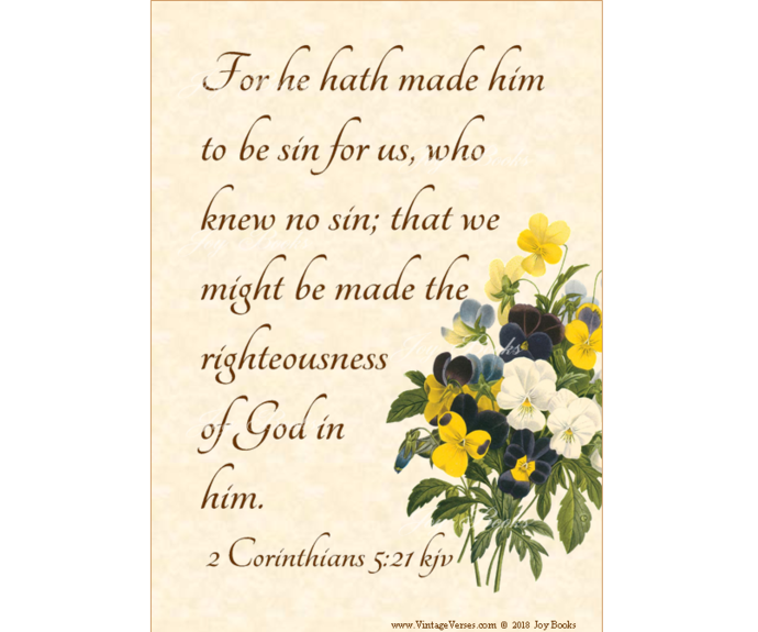 OUR SUBSTITUTE, 2 Corinthians 5:21 Vintage Verses DIY Inspirational Wall Art