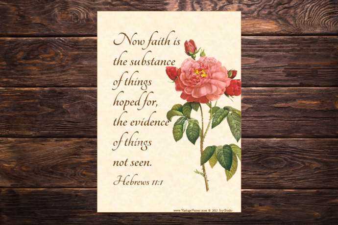 FAITH THE SUBSTANCE OF HOPE Hebrews 11:1 Vintage Verses DIY Inspirational Wall