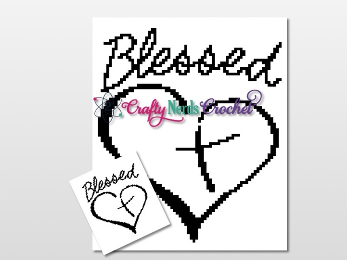 Blessed Heart Cross Pattern Graph With C2C Written