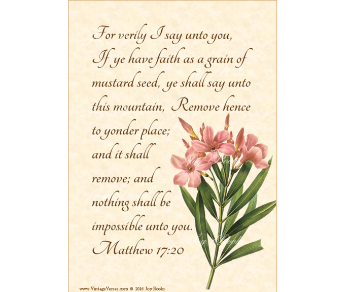 MUSTARD SEED FAITH Matthew 17:20 Vintage Verses DIY Inspirational Wall Art
