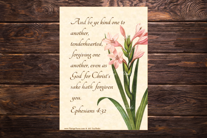 BE KIND Ephesians 4:32 Vintage Verses DIY Inspirational Wall Art Printable