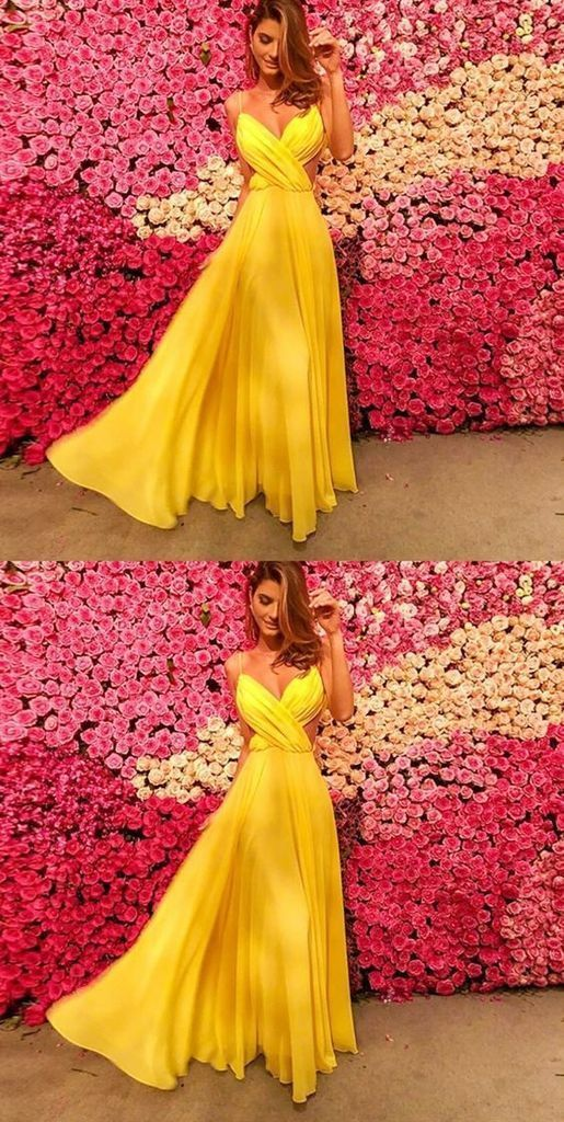 Simple yellow long prom dress,Graduation Party Dress,Sexy Party Dress,Formal