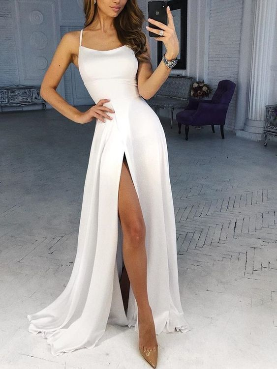 White Spaghetti Strap Thigh Split Slip Maxi Dress,Sexy Party Dress,Formal