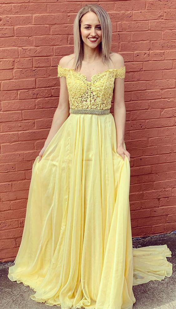 Off the Shoulder Long Prom Dress, Yellow Prom Dress,Sexy Party Dress,Formal