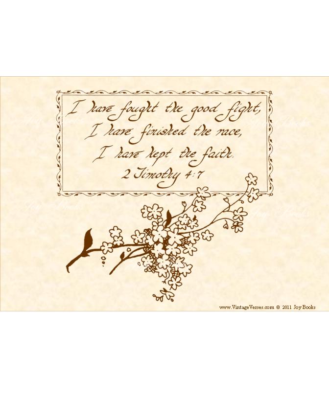 KEEP THE FAITH 2 Timothy 4:7 Vintage Verses DIY Inspirational Wall Art Printable