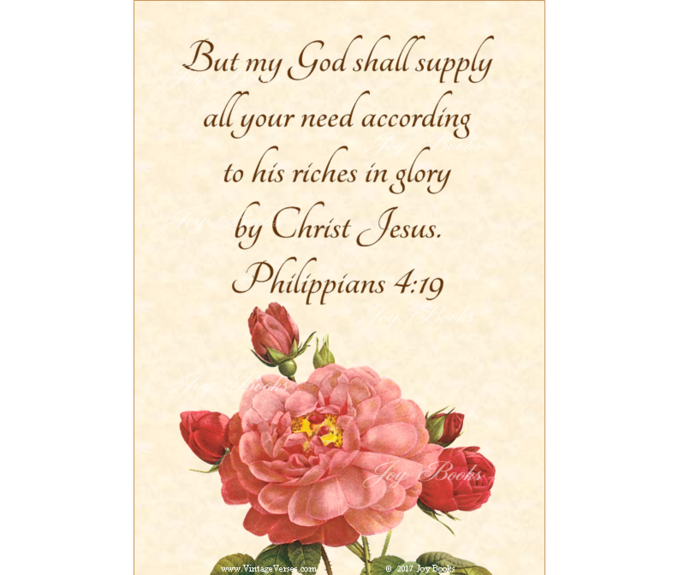 GOD WILL SUPPLY Philippians 4:19 Vintage Verses DIY Inspirational Wall Art