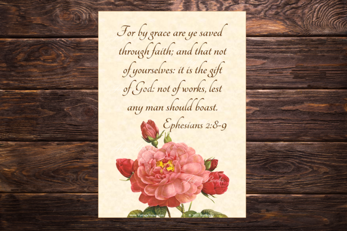 SAVED BY FAITH Ephesians 2:8-9 Vintage Verses DIY Inspirational Wall Art