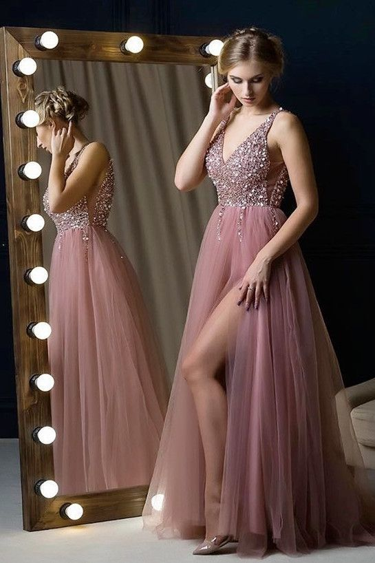 V-Neck Dusty Pink Long Prom Dress with Beading Top,Sexy Party Dress,Formal