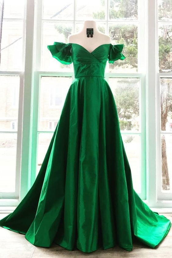 Elegant Off the Shoulder Sweetheart Green Prom Dress,Sexy Party Dress,Formal