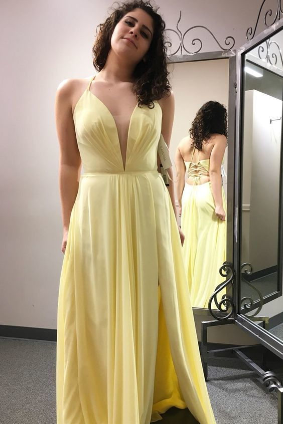 Simple Yellow Long Prom Dress with Cross Back,Sexy Party Dress,Formal