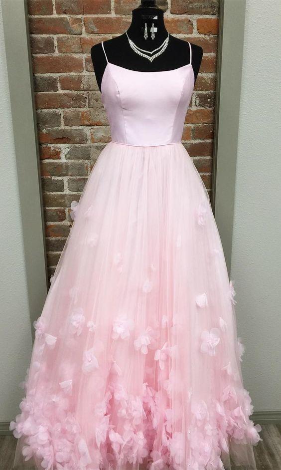 Princess Spaghetti Straps Appliques Pink Long Prom Dress,Sexy Party Dress,Formal
