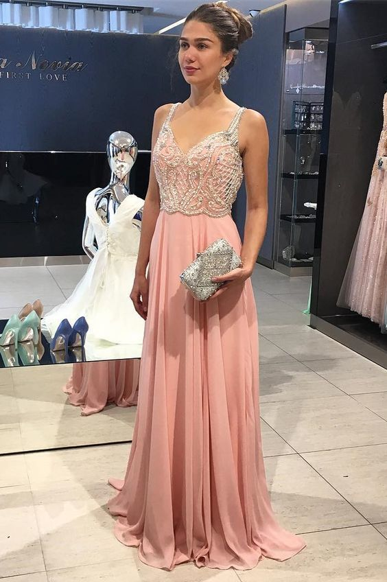 Gorgeous V Neck Beaded Long Prom Dress, Charming Custom Made Formal Dress,Sexy