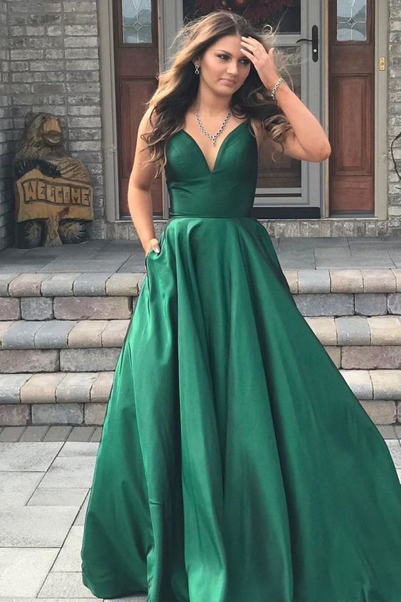 Gorgeous Straps V Neck Green Long Prom Dress,Sexy Party Dress,Formal Dress,Cheap
