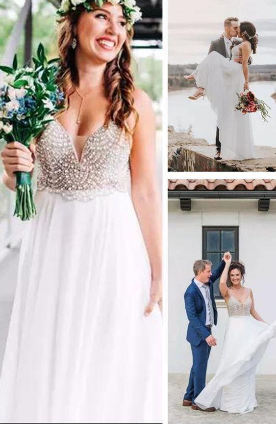 Elegant White Chiffon Long Formal Dress,Cheap Custom Made Bridal Gown,Sexy White