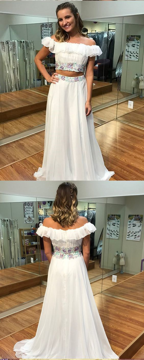 Two Piece Prom Dress, White Long Prom Dress, Sexy Party Dress,Formal Dress,Cheap